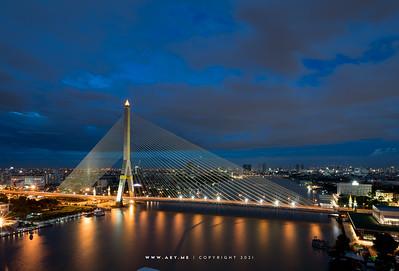 Rama VIII Bridge and Chao Phraya River