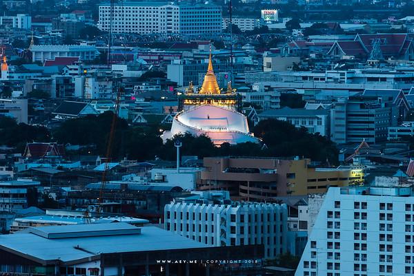 Twilight at Phu Khao Thong, Wat Saket view from the Millennium Hilton Hotel