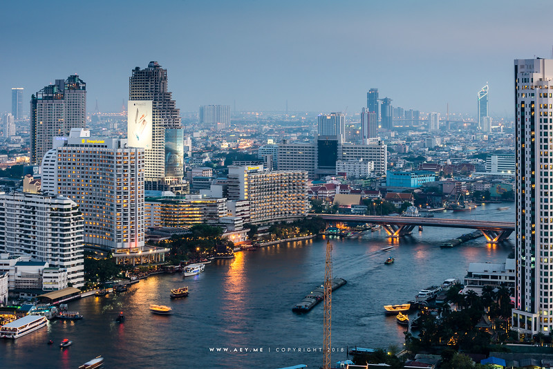 Bangkok Cityscape view from the Three Sixty Lounge at Millennium Hilton Hotel