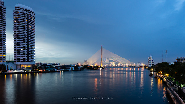 Rama VIII Bridge and Chao Phraya River view from Phra Pinklao Bridge