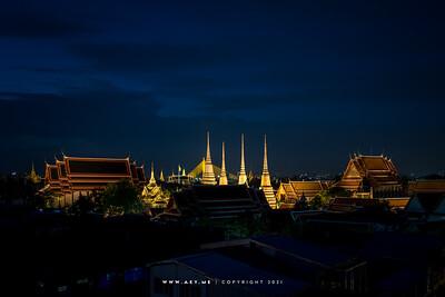 Wat Pho (Wat Phra Chetuphon) & Wat Phra Kaew (Wat Phra Sri Rattana Satsadaram), Grand Palace view from Riva Arun