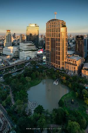 Benchasiri Park view from ABar at Bangkok Marriott Marquis Queen's Park
