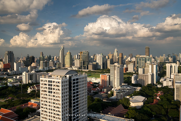 Chulalongkorn University and the Skyline of Bangkok