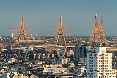 Bhumibol Bridge view from the Bangkok Sathorn
