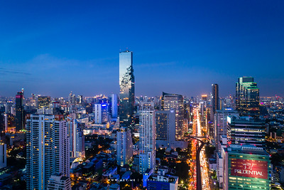 Twilight at Mahanakhon and the cityscape of Bangkok