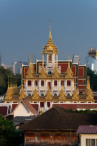 Bangkok view from 4PM Rooftop Bar, in this scene: Loha Prasat, Wat Ratchanatdaram
