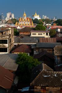 Bangkok view from 4PM Rooftop Bar, in this scene: Loha Prasat, Wat Ratchanatdaram and Phukhao Thong, Wat Saket
