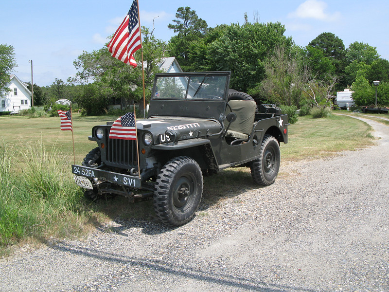 "This prime condition original ""Jeep"" was actually in Wingate, MD;  Proudly on display in front of the StoneHouse Bar over Memorial Day weekend."