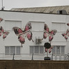 """Buidling decorated with Butterflies.<br /> """"Butterflies 2012"""" represents the metamorphosis of Stratford<br /> Artist:  David Apps"""