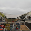Swimmimg venue extended seating being dismantled