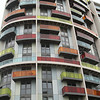 Coloured balconies on Stratford High street