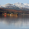View up Gareloch to snow capped mountains