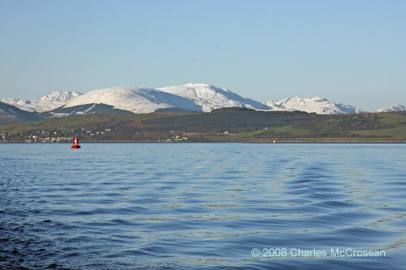 Snow capped mountains looking up Gareloch