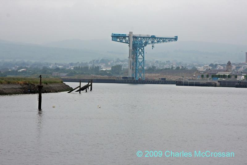 Titan crane at Clydebank from Renfrew Golf Course walkway