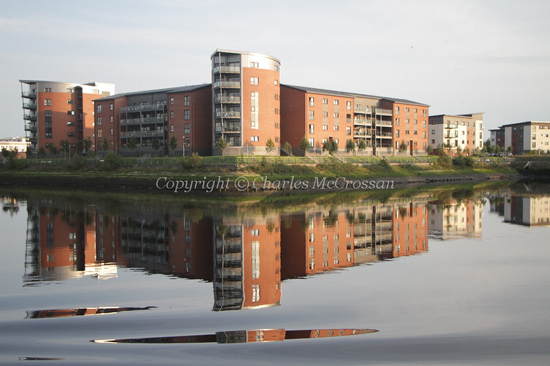 Flats at Pudzeoch Renfrew with reflections