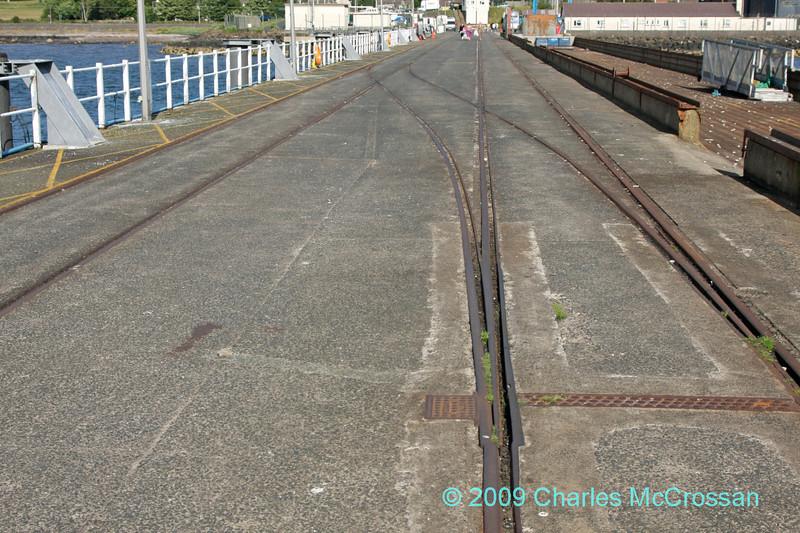 Rail tracks leading off Fairlie Pier