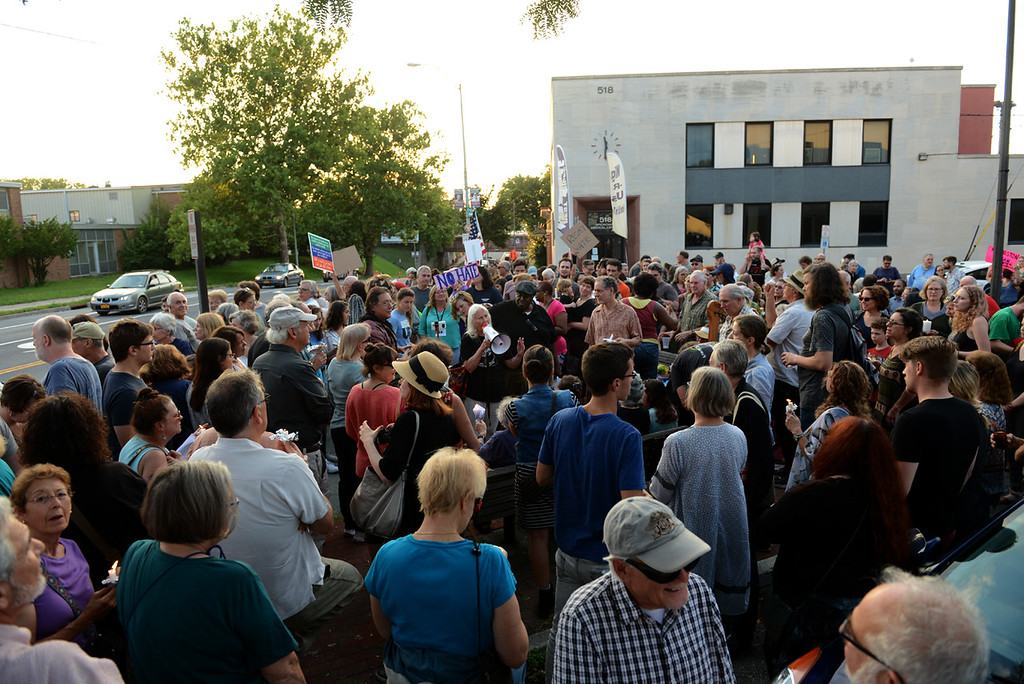. Hundreds of people turned out on Aug. 14 evening at the corner of Grand St. and Broadway in Midtown Kingston, N.Y. in solidarity for the victims in Charlotesville, Virginia and to speak out against bigotry and violence. Tania Barricklo- Daily Freeman