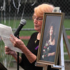 Saugus, Ma 9-14-17. Marlene Taraskiewicz, the mother of Susan Tartaskiewicz who was murdered twenty-five years a go, talking about her daughter at a vigil on the 25th year of her death in a ceremony at World Series Baseball Park in Saugus.