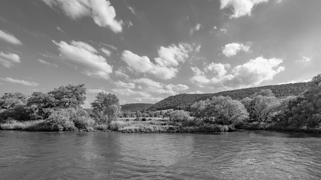 Clouds above the banks of the Rhine River, Germany