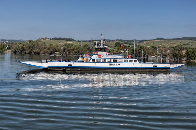 Car ferry crossing the Rhine River at Oestrich-Winkel, Hesse, Germany
