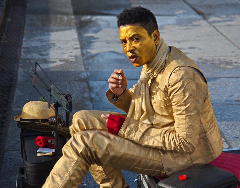 Street Performer Putting on Make-up