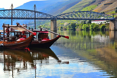 Moored Rabelo Boats at Pinhao on the Douro River