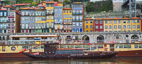 The Multicolored Houses Along the Douro River in Porto