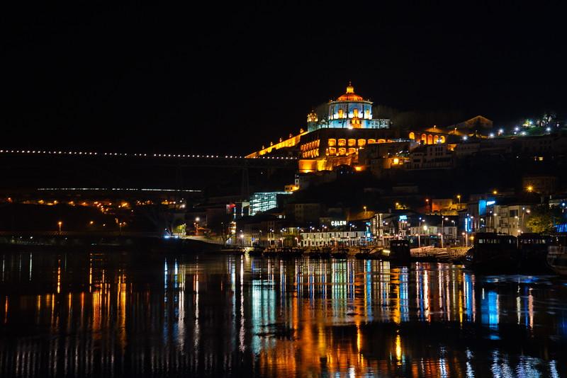 Porto at Night Along the Douro River