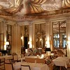 The modern tea room with its canopied hand painted curtain ceiling by the daughter of Philippe Starck.