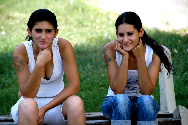 Bulgaria, Vidin, Two Sisters Sitting in Front of St. Dimitar's Orthodox Cathedral
