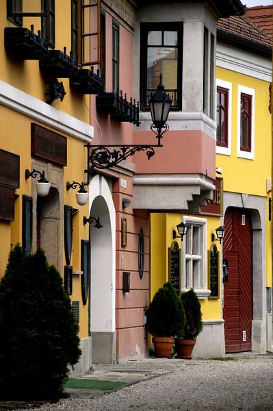 Hungary, Szentendre, Houses on Alkotmány Street