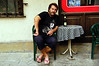 Bulgaria, Veliko Turnovo, Having a beer Samovodska Charshia Street