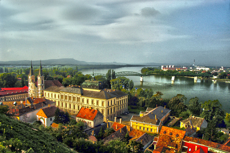 Hungary, Esztergom, The Danube Bend, from The Primate's Basilica of the Blessed Virgin Mary taken into heaven and St Adalbert, the Jesuit Church on the left