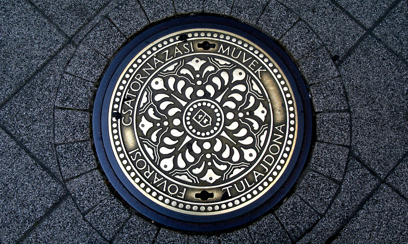 Hungary, Budapest (Pest), Manhole cover on Vaci Street