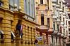 Hungary, Budapest, (Pest), Facades of Buildings on Matyas Street (Mátyás utca) in the Ferencváros area.
