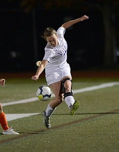 Shannon Coleman (17) clears ball upfield for the Jems.