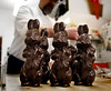 HOLLY PELCZYNSKI - BENNINGTON BANNER Chocolate bunnies stand at attention waiting to be bagged and placed on the shelves of the Village Chocolate Shoppe on Thursday morning in Bennington as Ken and Nick Monte fill dozens of molds and filing the store with everything Easter.