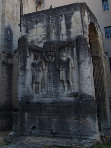 Roman Arc de Triomphe, Carpentras, featuring two prisoners chained to a tree