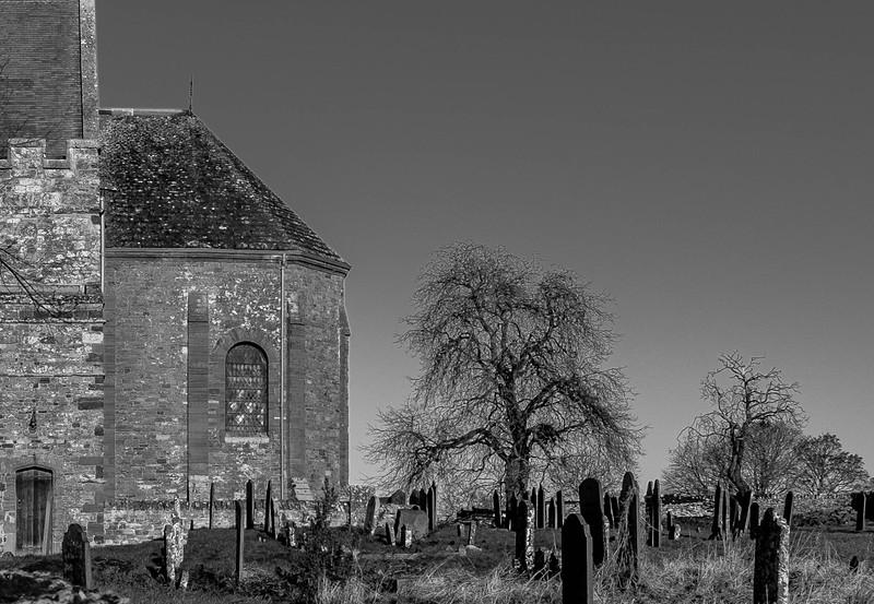 Chancel and churchyard view, All Saints' Church, Brixworth, Northamptonshire