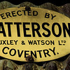 Matterson, Huxley & Watson, makers plate, prefabricated building, Flore, Northamptonshire