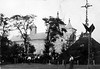 Торське. 1942. Церква Благовіщення Пресвятої Марії і символічна могила Січовим Стрільцям