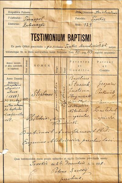 Торське, 1928.  Свідоцтво про хрещення. Стефана Стацюка., який народився 21 травня 1888 р.