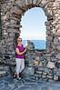 Porto Venere - Lynda with the Ligurian Sea in the background.