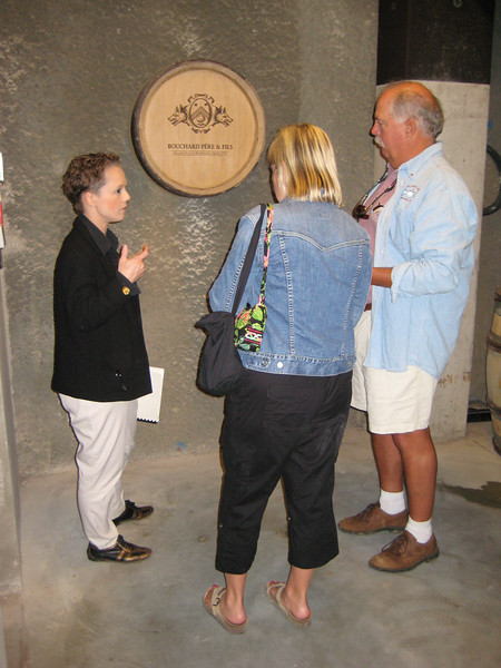Our guide, explaining that there is no wine in this barrel.