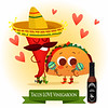 Postcard Valentine's Day. Illustration with funny characters. Love and hearts.Mexican traditional fo