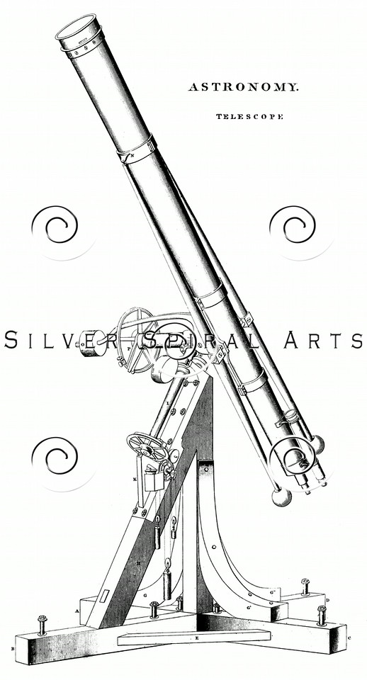 Vintage 1800s Sepia Illustration of a Telescope.  The natural patina, age-toning, imperfections, and old paper antiquing of this vintage 19th century illustration are preserved in this image.