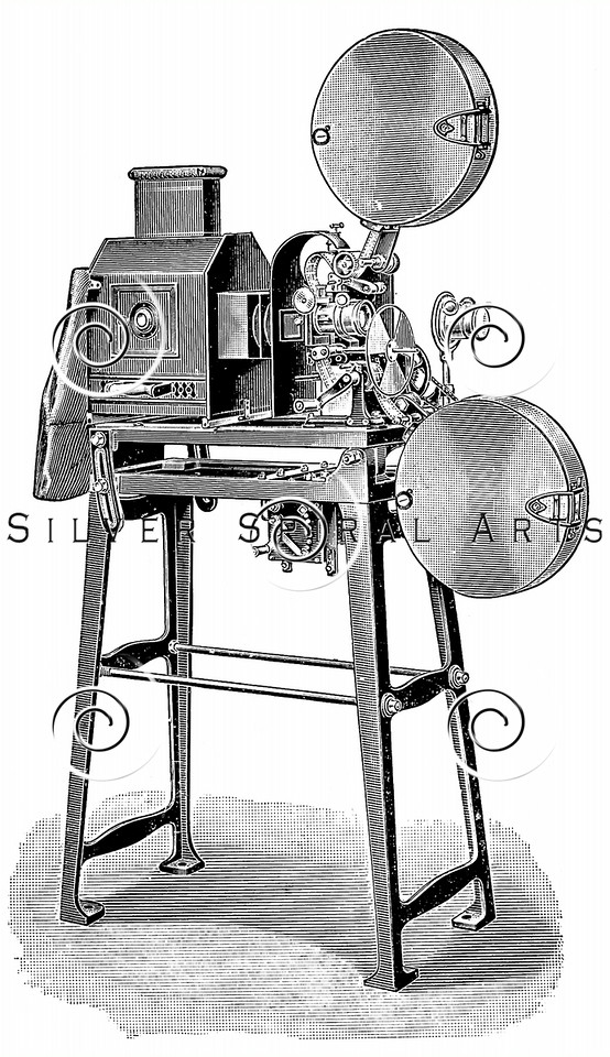 Vintage illustration of Movie Camera Projector Cinematography Equipment from Meyers Konversations Lexikon 1913 Encyclopedia.  Antique digital download of old print - photography; cinematography; film; movie; cinema; camera; equipment; machine.  The natural age-toning, paper stains, and antique printing imperfections are preserved in this 1900s stock image.