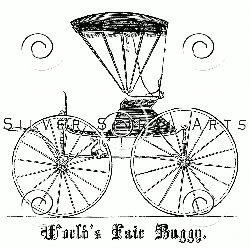 Vintage Carriage Buggy Illustration - 1800s Cart Images.