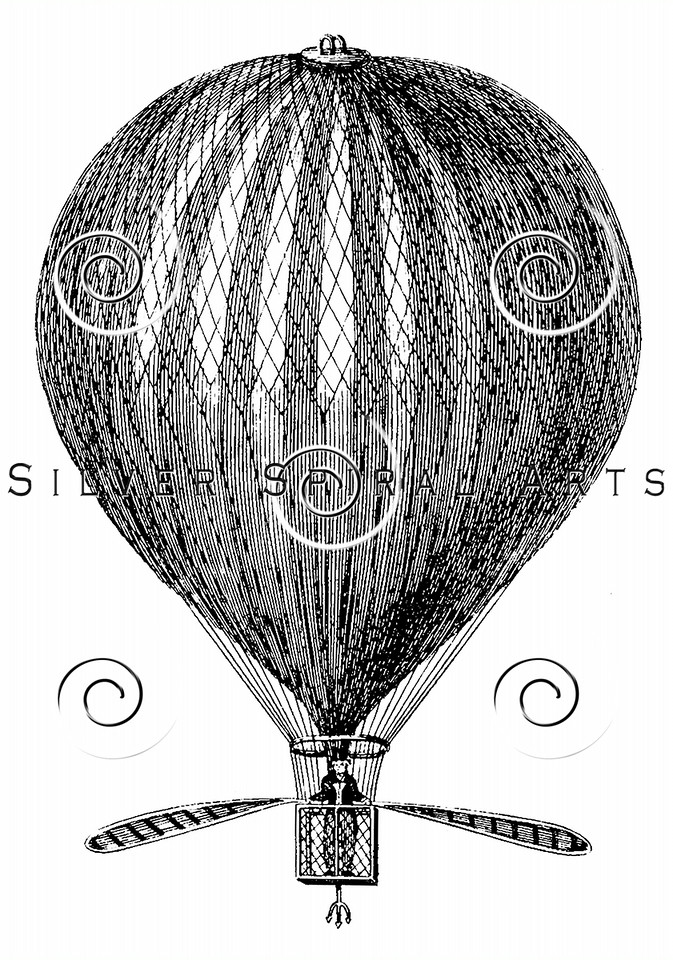 Vintage 1800s Hot Air Balloon Steel Engraving Steampunk Aerostation Print from from THE ENCYCLOPEDIA BRITANNICA.  The natural patina, age-toning, imperfections, and old paper antiquing of this vintage 19th century illustration are preserved in this image.