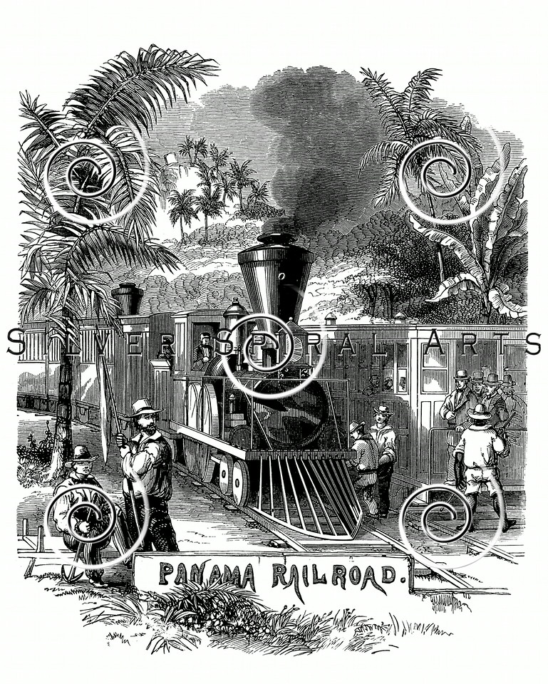 Vintage Panama Canal Illustration - 1800s Railroad Images.